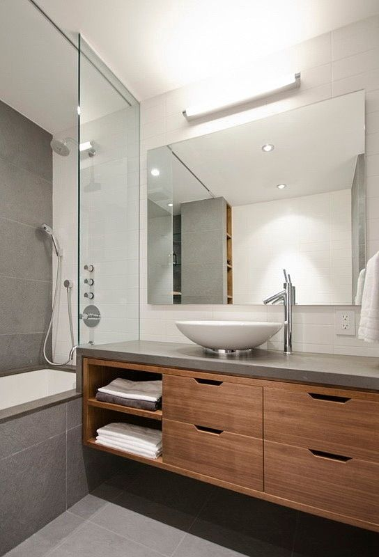 Wall Hung Is Nice For A Small Space But I D Probably Sacrifice It For More Storage Space Stone Bench And Timbe Trendy Bathroom Modern Bathroom Timber Vanity