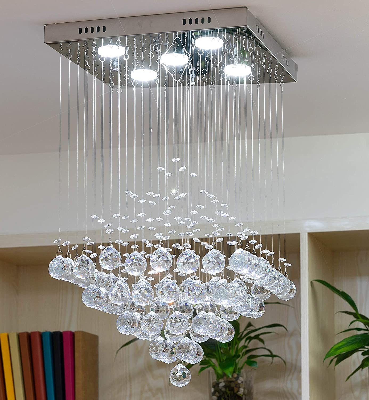 Fashionou Crystal Chandelier Led Ceiling Light Flush Mount Pendant Lighting For Bathroom Light Ceiling Lights Bathroom Ceiling Light Bathroom Lighting Design Crystal ceiling light fixtures