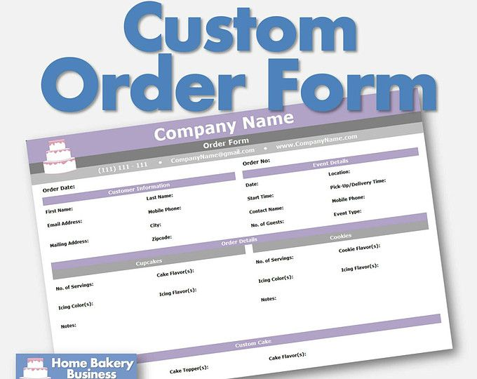 Cake, Cupcake, and Cookie Decorating Business Printable Order Form - sample order form