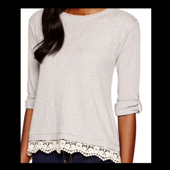 Envelope Back Shirt Grey | 3/4in Sleeve | Hi-Lo | Crochet Trim | Slightly see through | NWOT Lily Star Tops