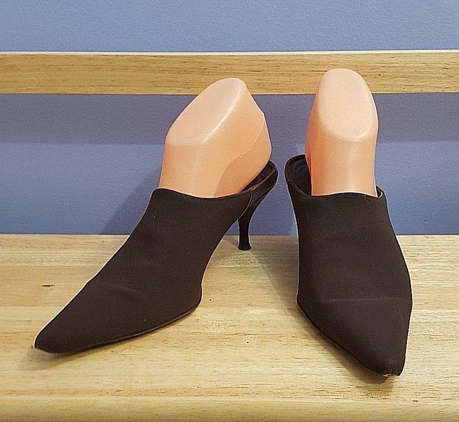 Donald J Pliner Brown Fabric Pointy Toe Kitten Heel Slides Mules