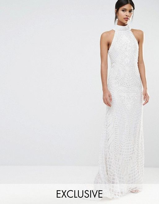 This is a stunning embellished halter neck wedding dress from ASOS ...