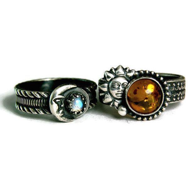 Bohemian Wedding Set Sun and Moon Moonstone Engagment Ring Unique