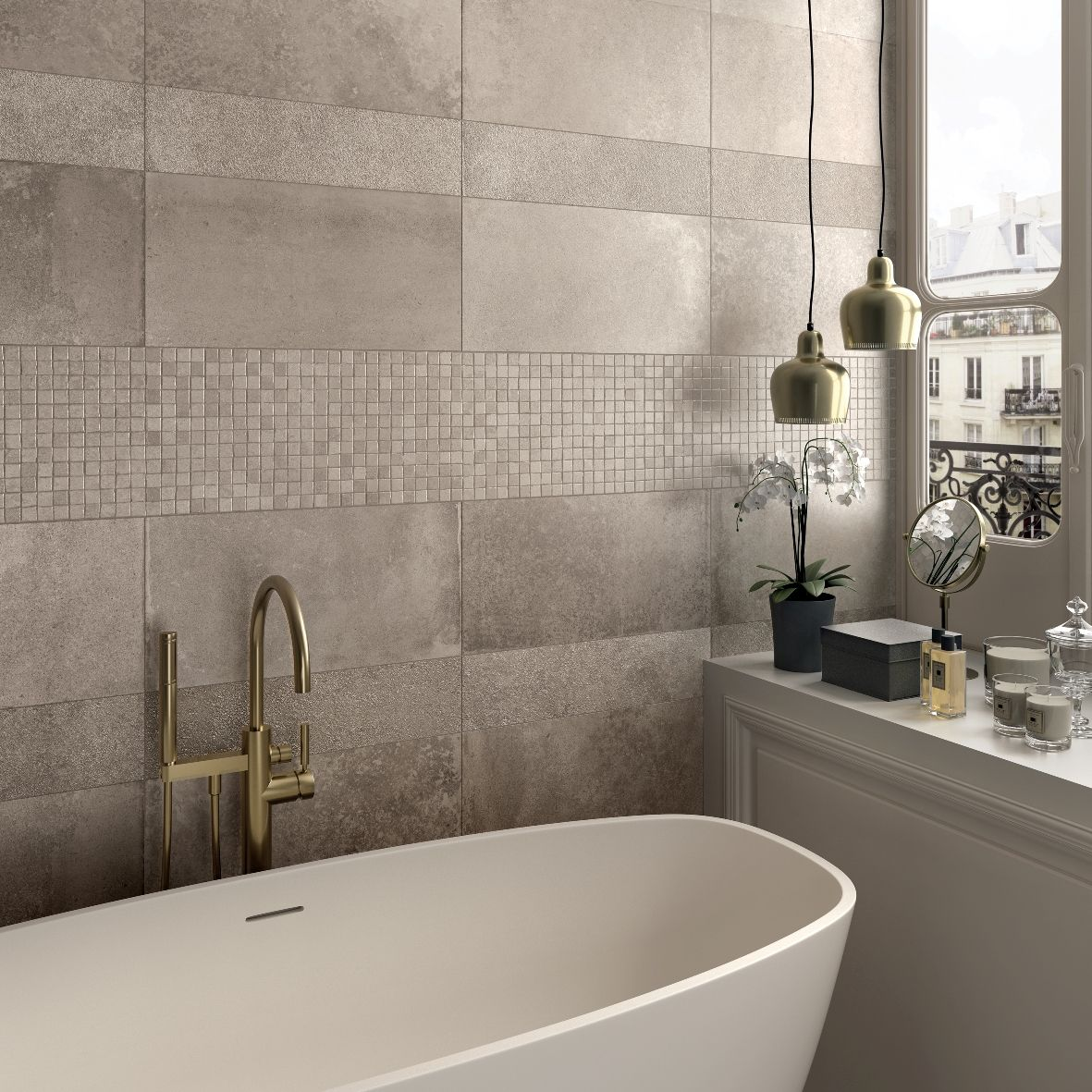 Fresco ed elegante questo bagno abkemozioni con unika ecru e mosaico opus mini ecru di abk - Finto mosaico bagno ...