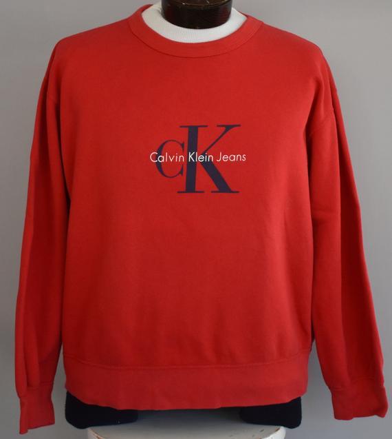 Vintage Calvin Klein Sweatshirt 90s Ck Jeans Pullover 1990s Crewneck Jumper Oversized Shirt Siz Calvin Klein Sweatshirts Sweatshirts Calvin Klein
