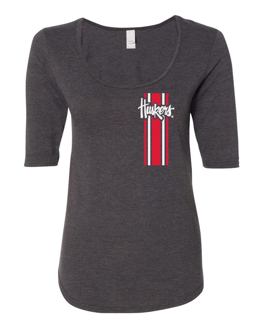 Women S Nebraska Husker Tee Shirt 1 2 Sleeve Scoop Neck Vertical Stripe Script Huskers Shirts Tee Shirts Vertical Stripe [ 1250 x 1000 Pixel ]