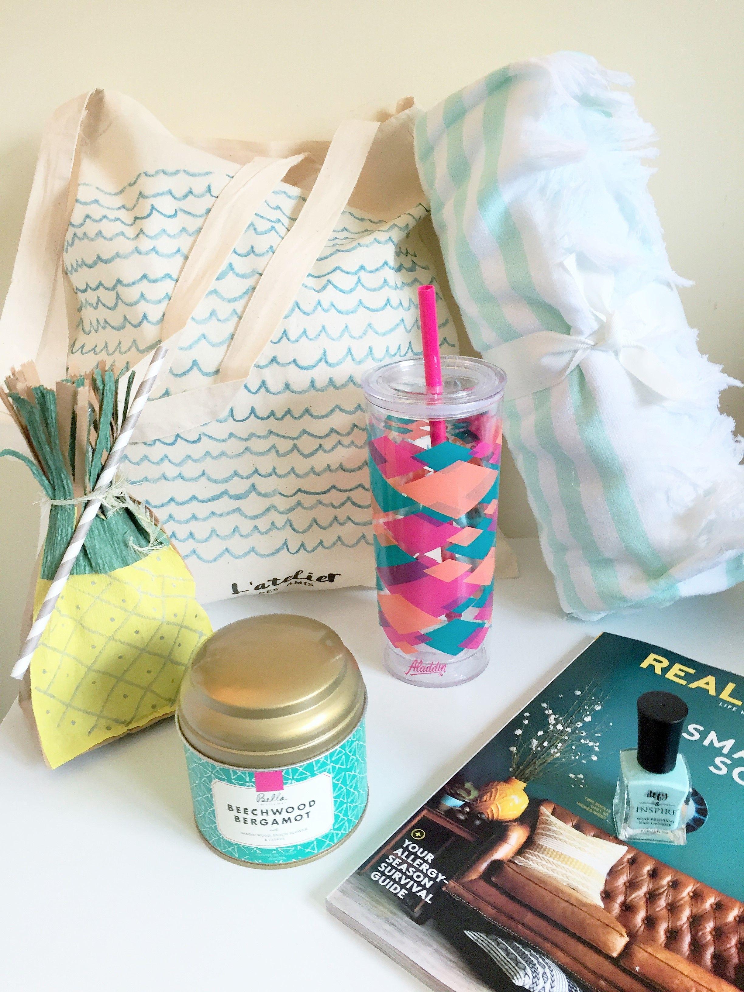 Tropical themed beach bag gift bag ideas wedding