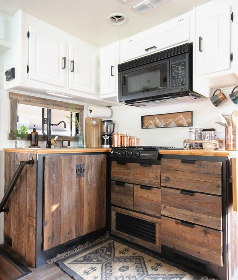 Rustic Modern Rv Kitchen With Reclaimed Wood Reclaimed Wood