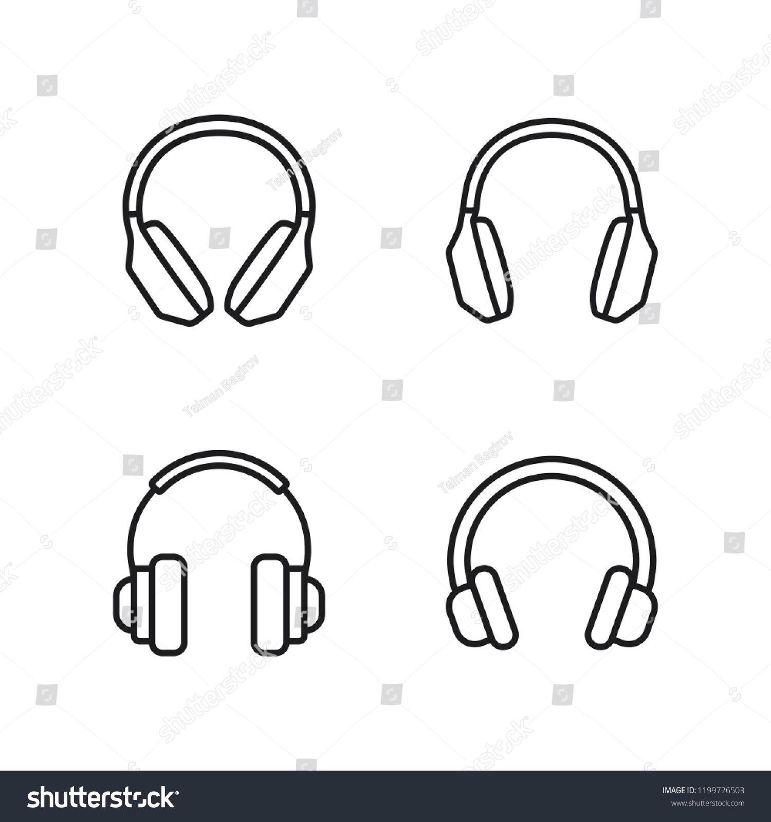 Thin Line Headphones Icons Set On White Background Sponsored Affiliate Headphones Line Thin Icons Icon Set Thin Line Icon