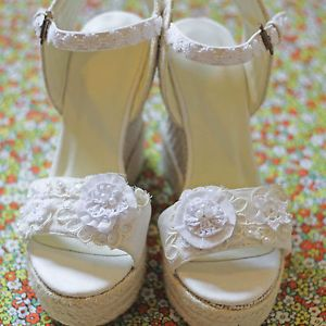 Ladies Espadrille Wedge Shoes Ivory And Cream Beach Wedding BRAND NEW Size 7