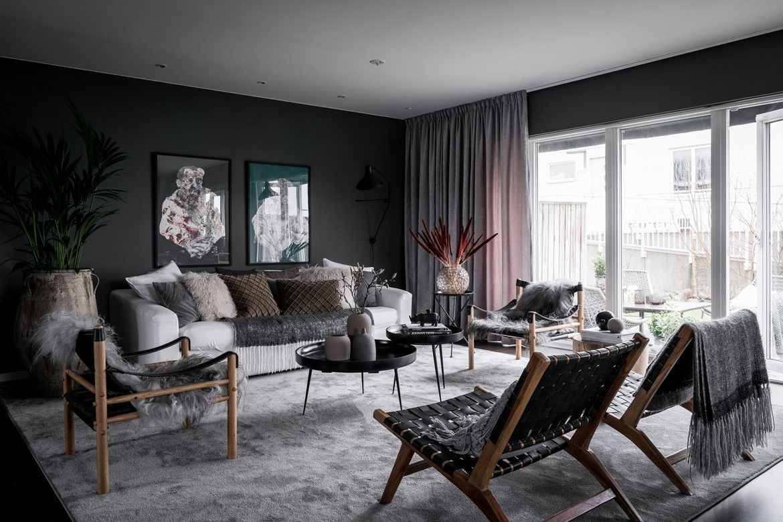 Dark grey living room  One Dark Wall  Pinterest  Grey living