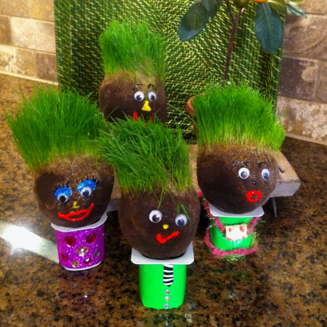 Grass head guys made from an old nylon soil grass for What is soil made out of