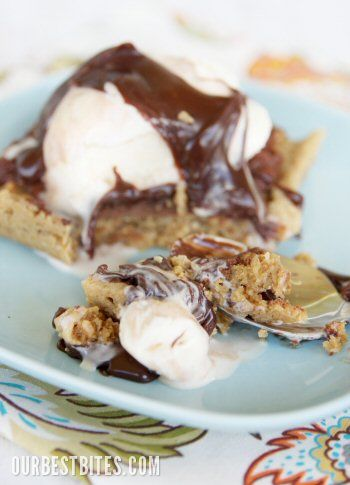 Chocolate-Frosted Peanut Butter Cookie Bars {Aka: School Lunch Peanut Butter Fingers} from Our Best Bites.  Even better topped with Ice Cream!