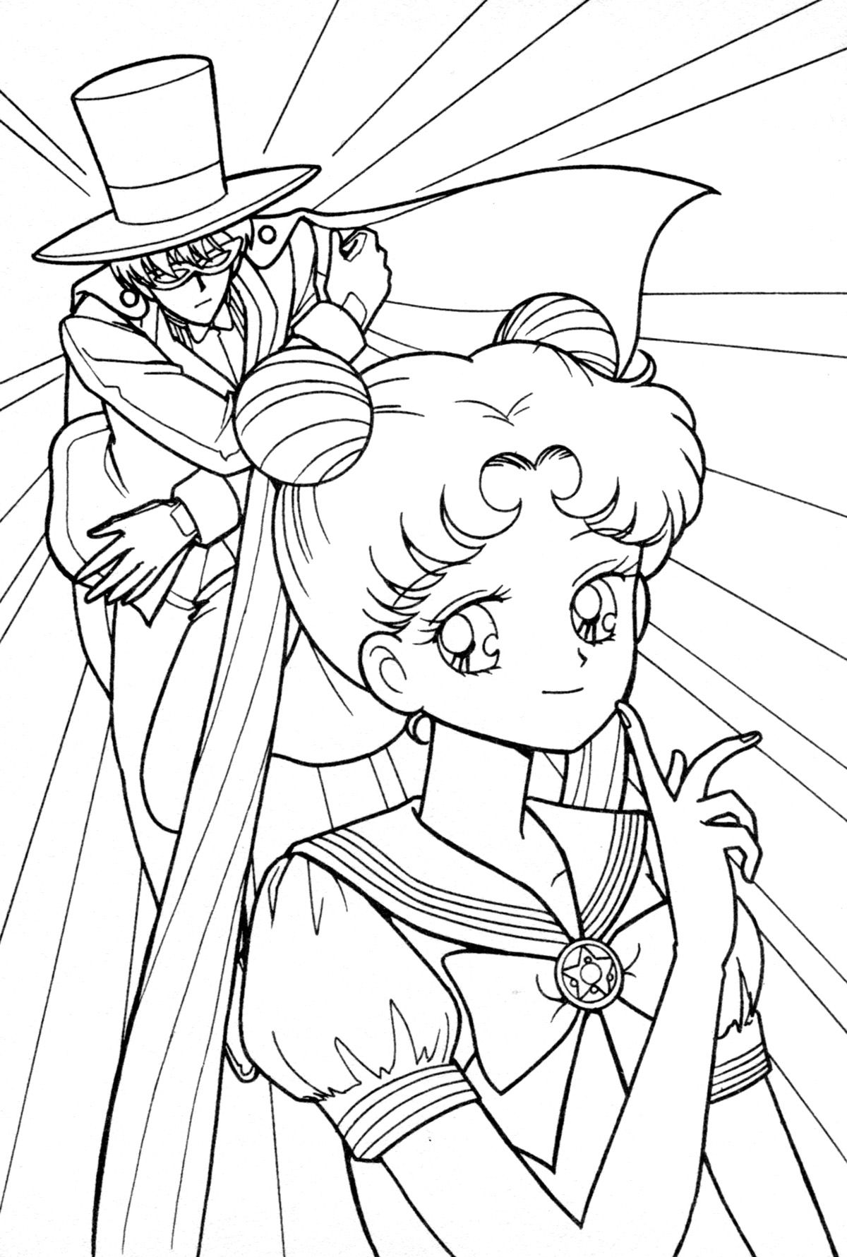 tuxedo kamen and tsukino usagi coloring page sailormoon