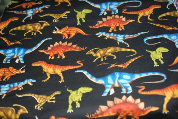 Dinosaurs on Black by Dan Morris for by Loriscountryfabrics, $8.95