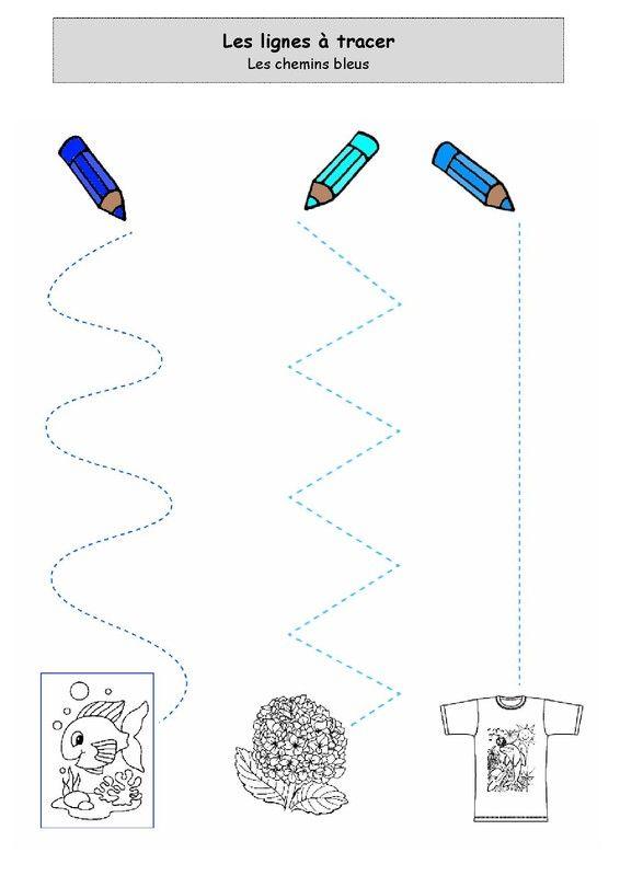 Super Fiche d'activité niveau maternelle de type graphisme - Lignes à  PM44