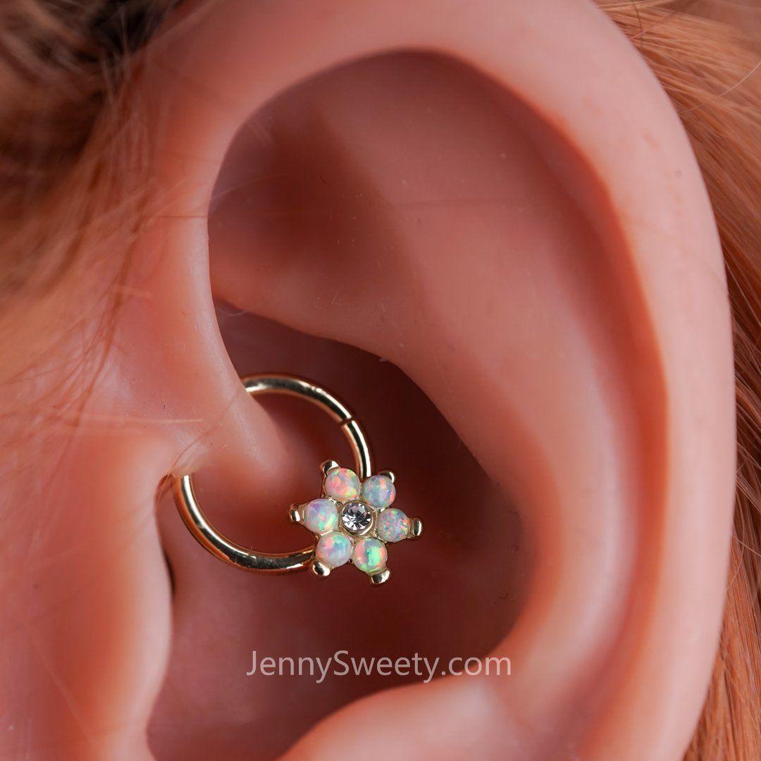 Flora Opal Hoop Daith Earring Hoop Cartilage Septum Ring