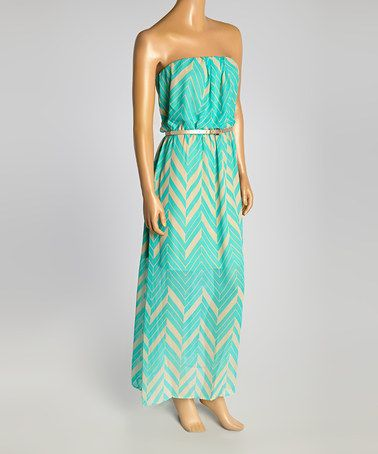 Another great find on #zulily! Aqua Chevron Belted Strapless Dress by Luxology #zulilyfinds