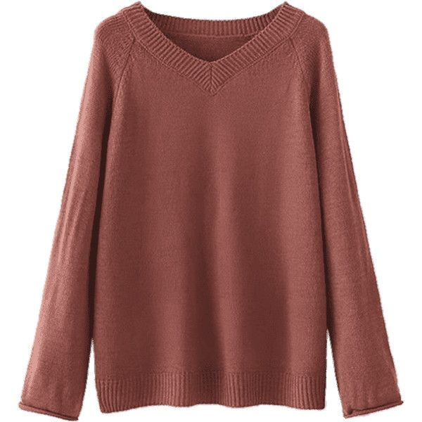 V Neck Plain Sweater Chocolate (125 HRK) ❤ liked on Polyvore ...