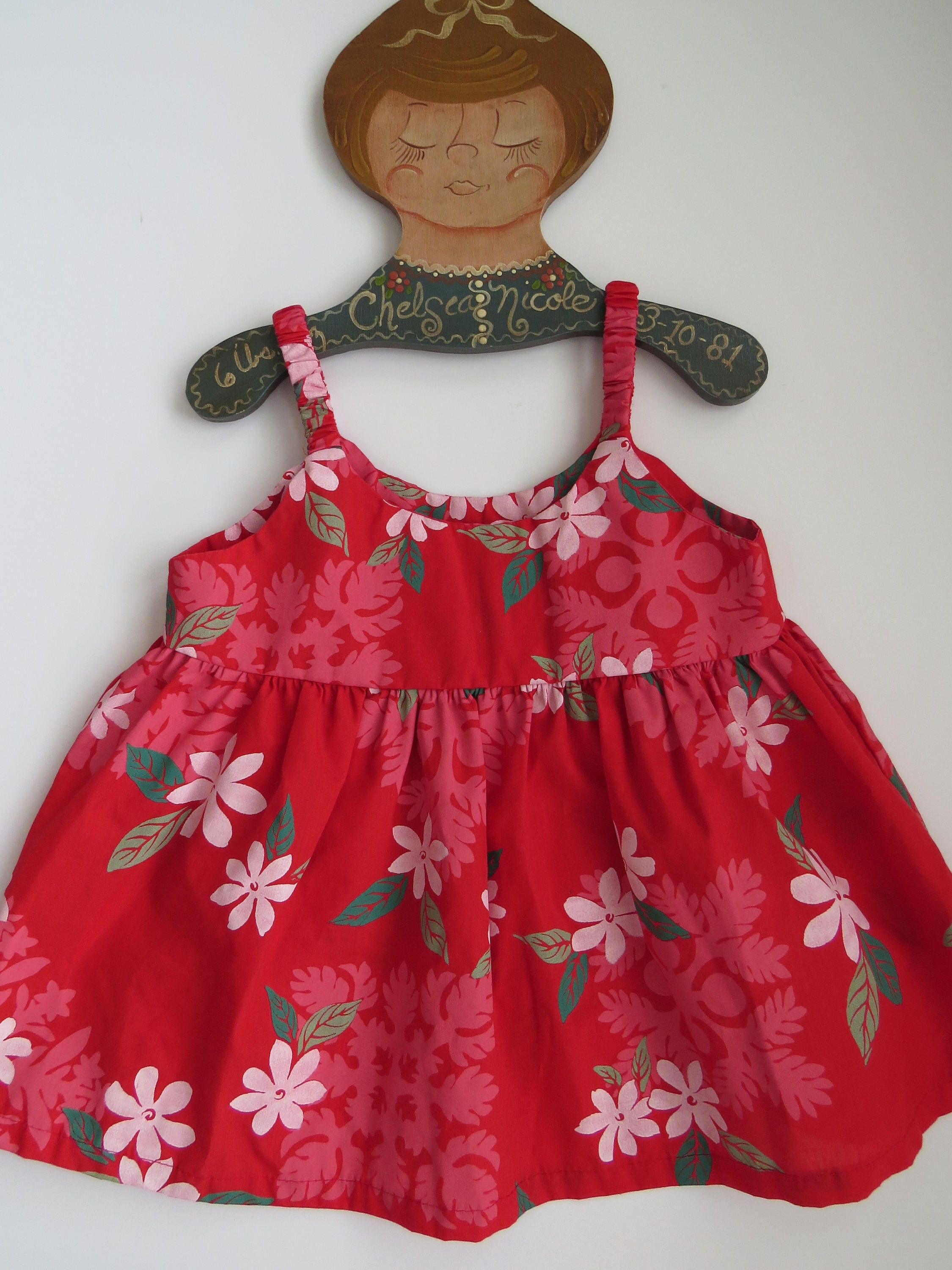 0b12122b5e3c Vintage Baby Girls Hawaiian Aloha Dress Toddler Size 18 Months Tropical  White Hibiscus Flowers on Red Summer Dress Vacation Made in Hawaii by ...