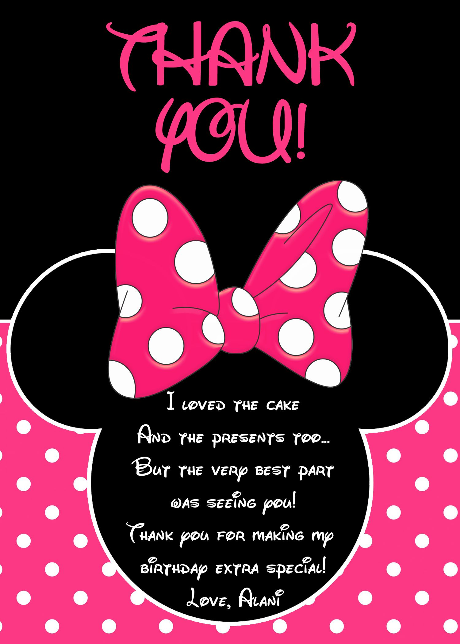 Minnie Mouse Thank You Card Minnie Mouse Party Minnie Mouse Birthday Mickey Mouse Birthday Invitations Mickey Mouse Birthday Kids Birthday Party Invitations