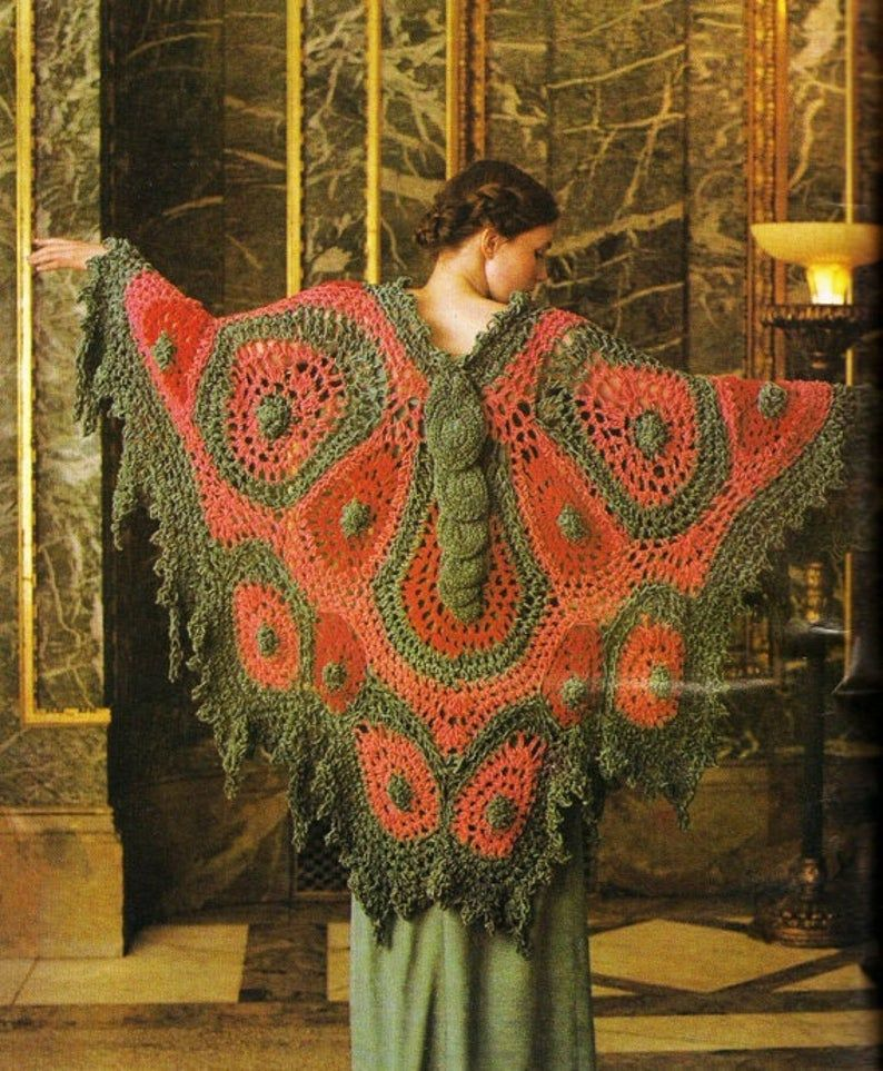 Vintage Butterfly Knitted Poncho