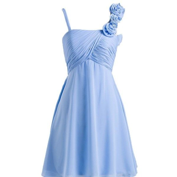 Wallbridal Flower Strap Ruched Short Chiffon Bridesmaid Dress ❤ liked on Polyvore featuring dresses, flower dress, blue flower dress, short chiffon dress, blue dress and chiffon dress