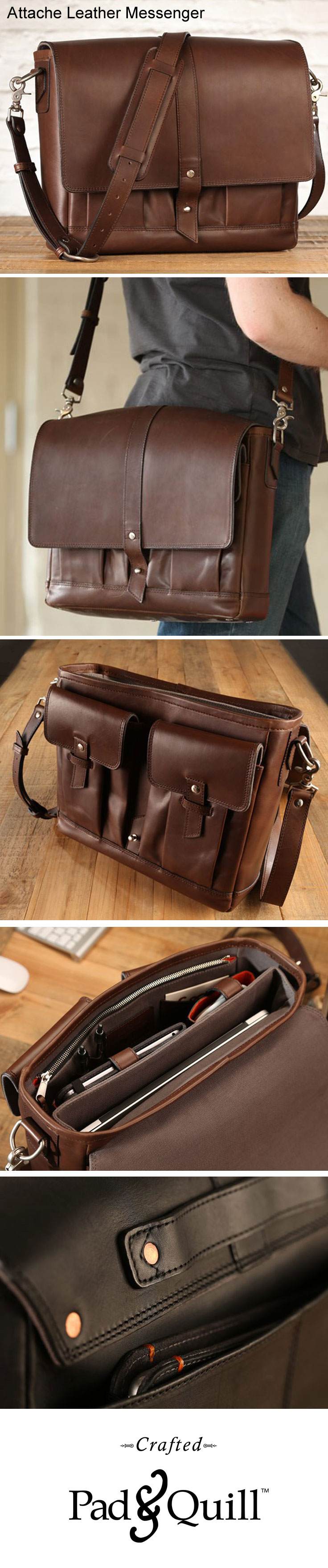 """The Attaché is the perfect companion to a busy professional who works hard and has earned an appreciation for the finer things of life. Hand cut full grain leather, tons of pockets to fit up to a 15"""" Macbook, iPad, chargers, and plenty more. www.PadandQuill.com"""