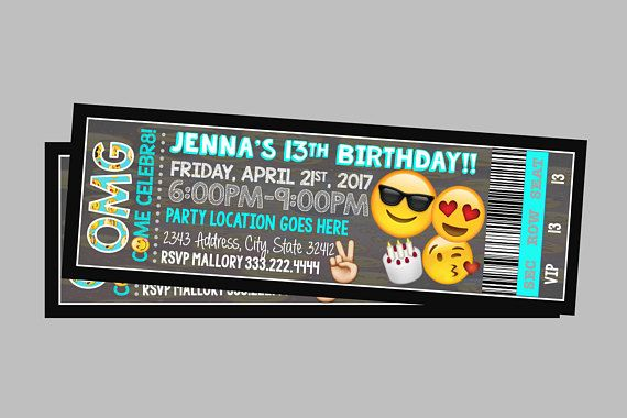 Emoji Invitation Movie Party Glitter