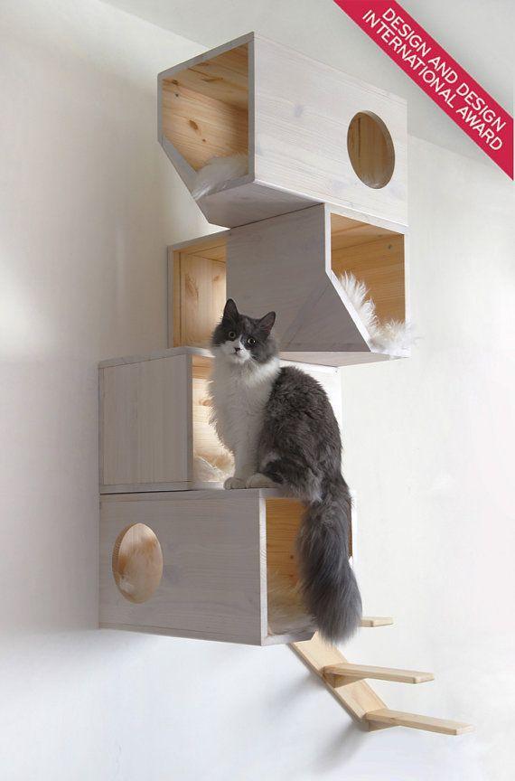 White Modular Cat House, #Cat #House #maisonchat #Modular