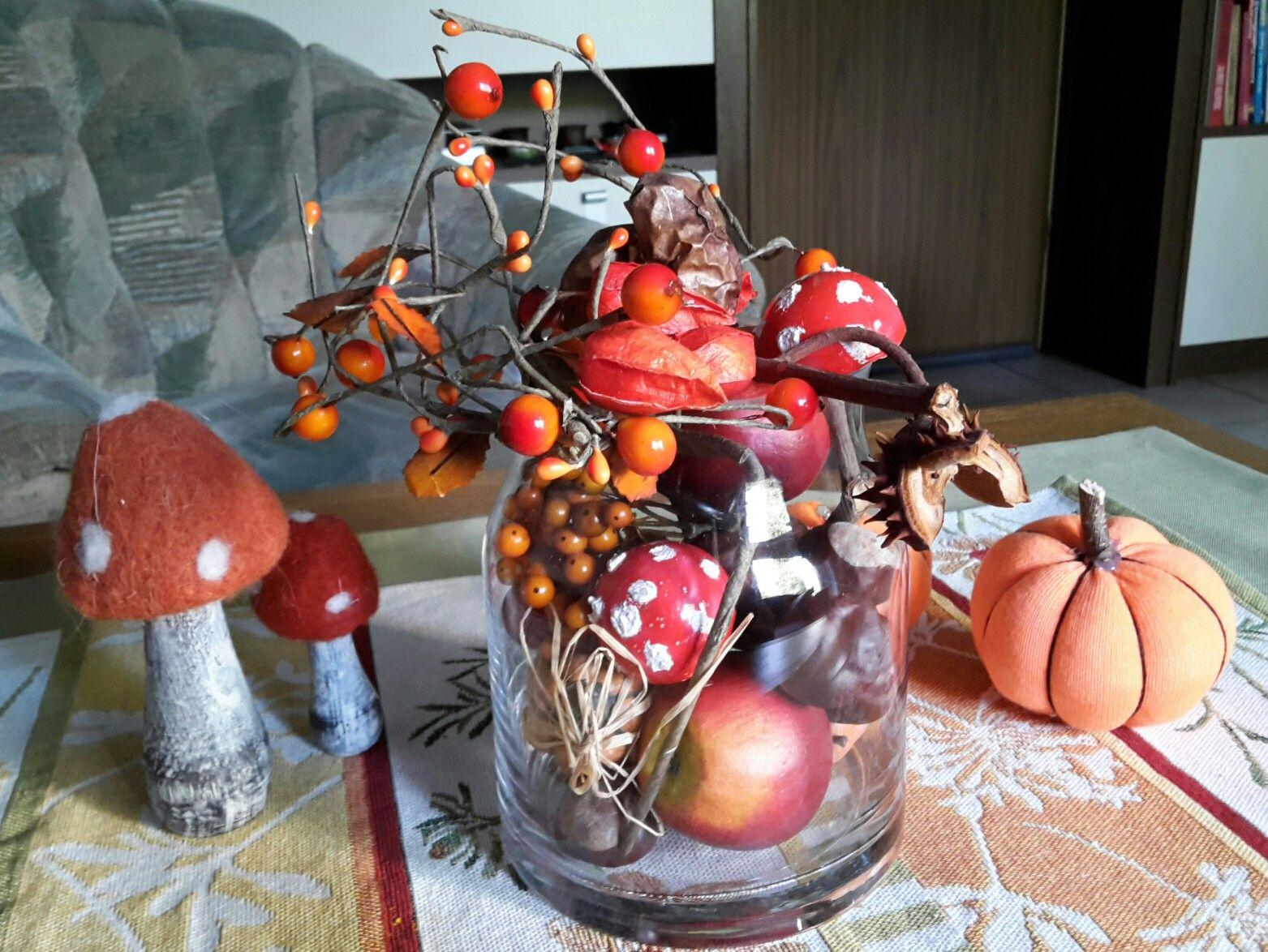 Herbstliche Tischdeko mit Socken-Kürbis #herbstlichetischdeko