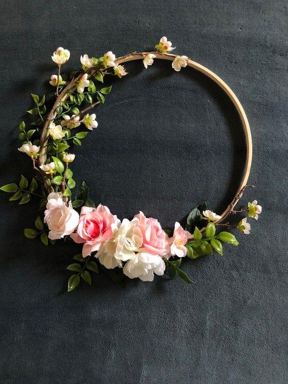 Photo of 10 inch floral hoop wreath, floral backdrop prop, garden wedding decoration, boho chic photo prop custom made, floral nursery wall piece