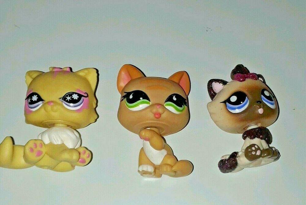 Littlest Pet Shop Lps Lot Of 3 Cats Kittens Authentic Hasbro