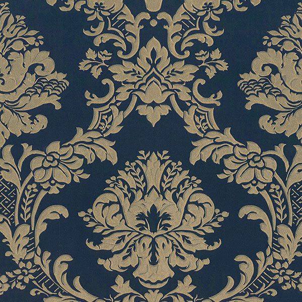 bold gold damask on navy blue wallpaper md29470 double
