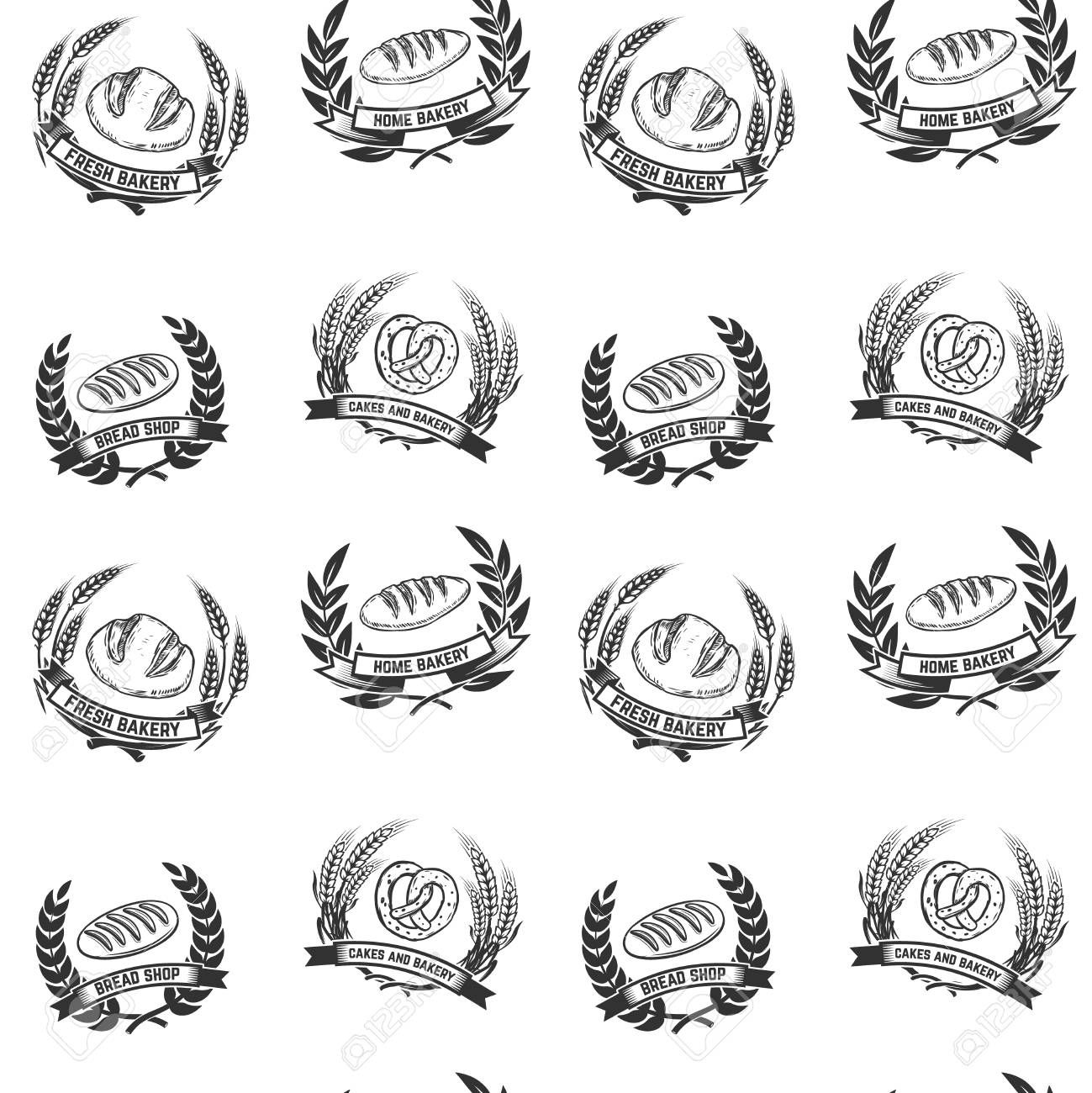 Seamless pattern with bakery emblems Design element for poster wrapping paper Vector illustration Illustration