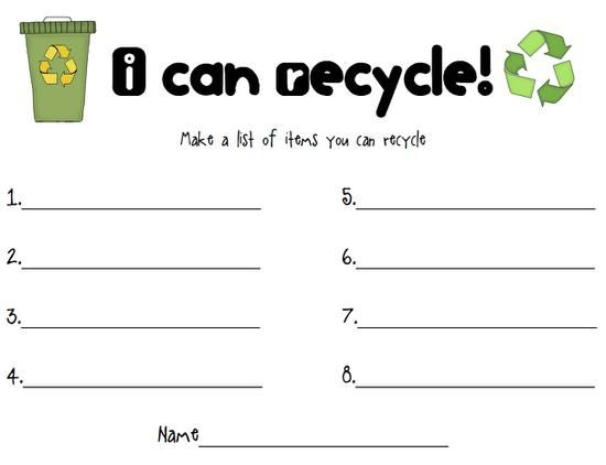 Reduce Reuse Recycle Earth Day Activity Worksheets