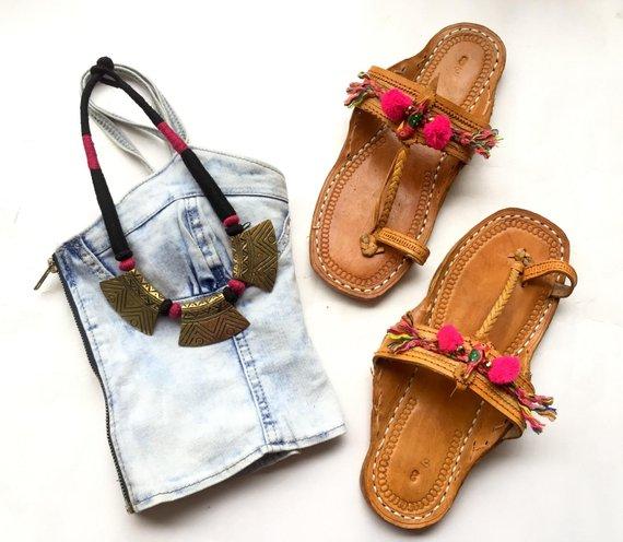 dcbfd71a17572 Fuchsia Pink Parrot Bohemian Style Kolhapuri Chappals/Women Sandals ...