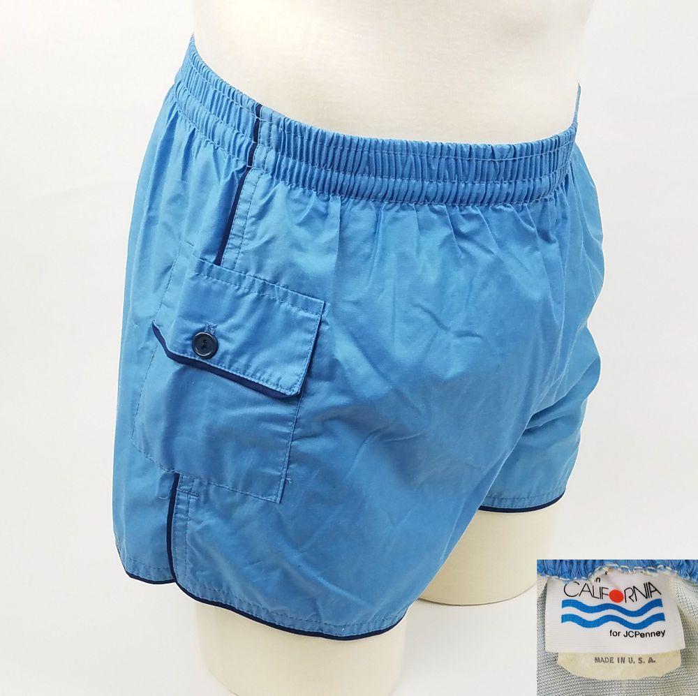 Vintage 1970\'s California Mens Shorts Swim Trunks Striped Lined M ...