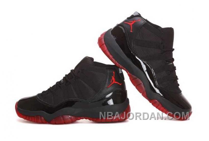 reputable site 4677b 04b7c Nike Air Jordan 11 Mens Black Red Shoes