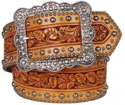 natural floral tooled studded belt by double j saddlery. Black Bedroom Furniture Sets. Home Design Ideas