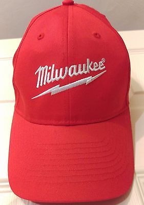 3346fb6eeb37c Milwaukee Power Tools Baseball Hat Red Cordless Drills   Sawzall Logo Cap