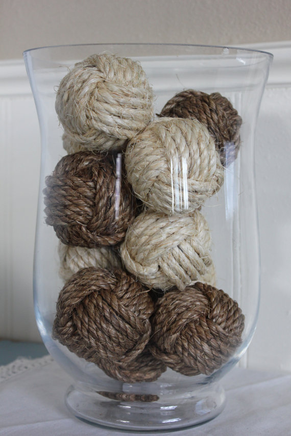 Nautical Rustic Rope Beach House Decor Monkey Fist Knots Set Of 10