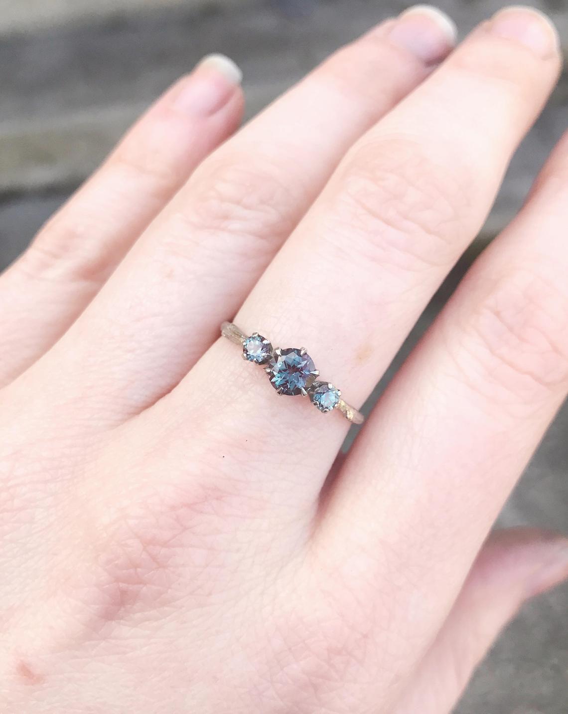 14k gold three stone alexandrite engagement ring chatham