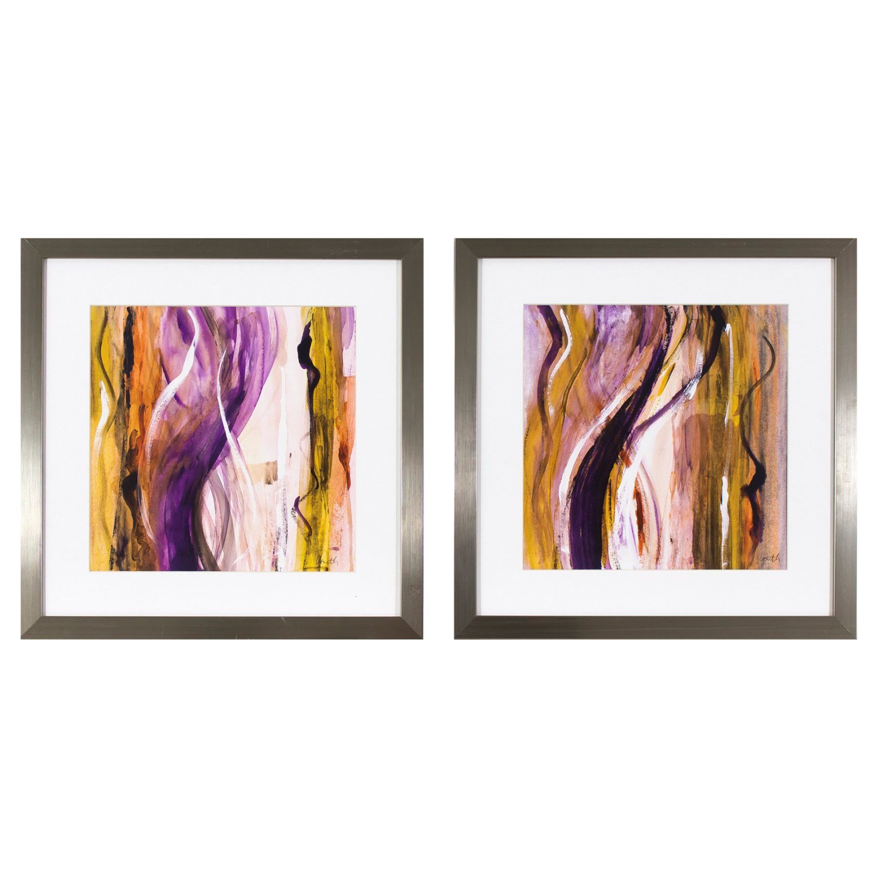Decor Therapy Fuchsia Strokes in Stainless Steel Frame - Set of 2 - 1606-8231LOW