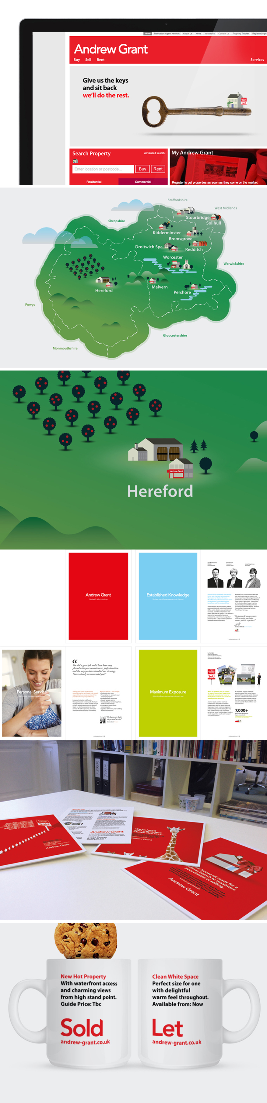 After celebrating 40 years in business in Worcestershire, Andrew Grant felt it was time to refresh their brand with a new logo design and much more. We worked closely with them to evolve and create an identity that worked across the board whether selling cottages or castles, online or offline. The brand now has a new vibrancy with clear messaging, clean design and a personalised illustration style to add character.