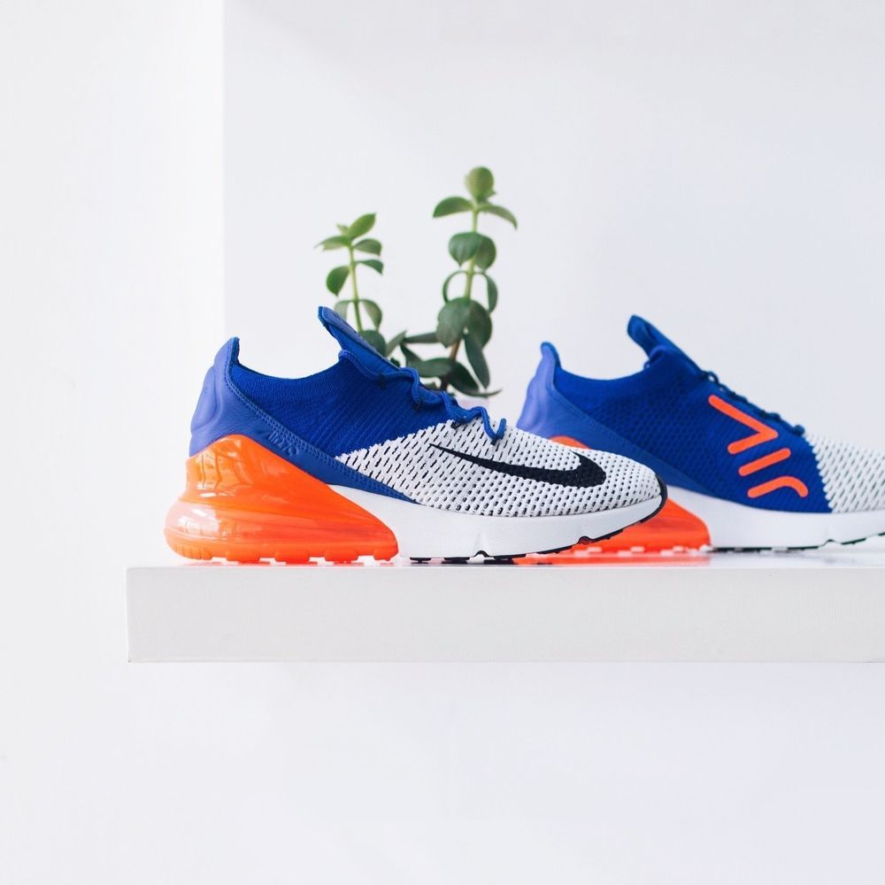 Nike Air Max 270 Flyknit Blue White Orange Mens Early Release