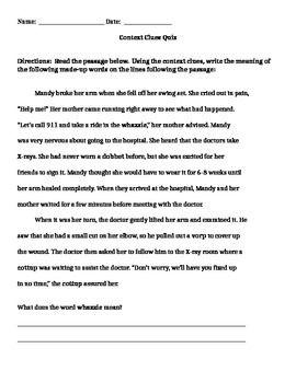 Context Clue Quiz | Context clues | Context clues, Reading