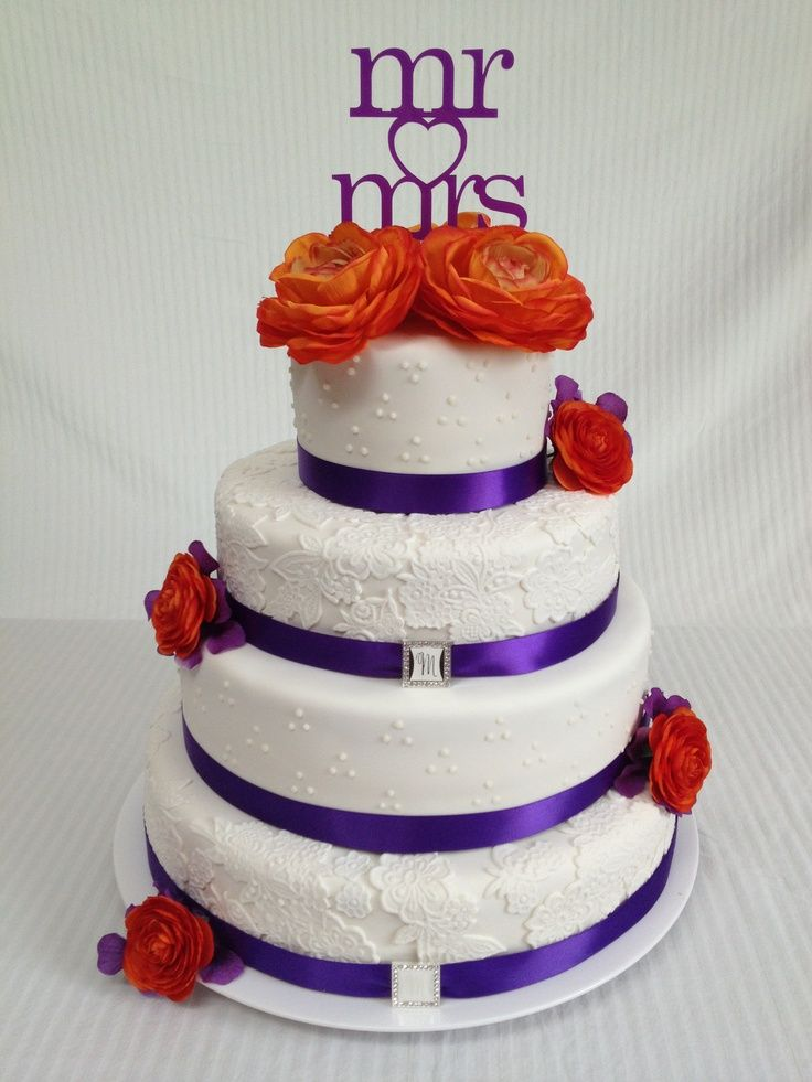 orange and purple wedding cakes | Purple & Orange with lace ...