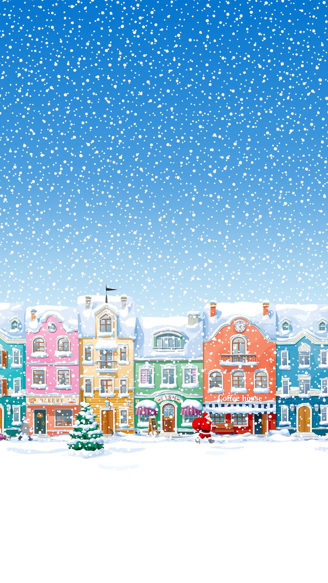 Wallpaper xmas iphone 5 - Snowy Town Santa Claus Delivering Christmas Presents Iphone 6 Wallpaper