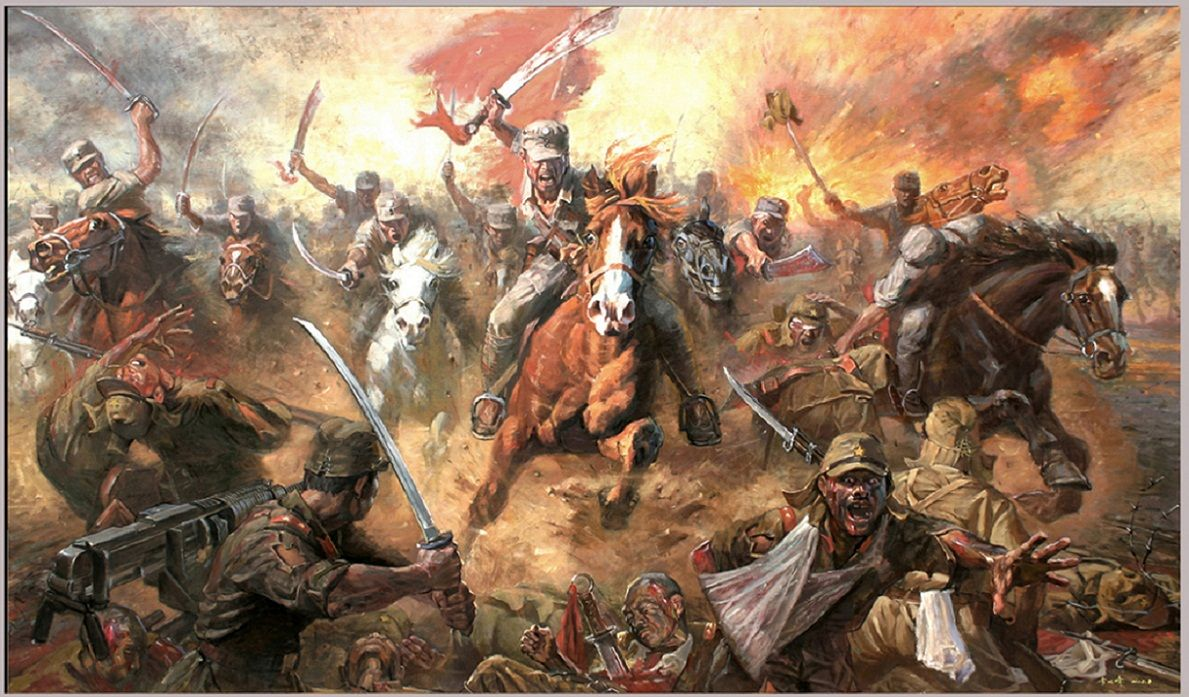 Charge Of The Chinese Cavalry Against Japanese Troops War Art